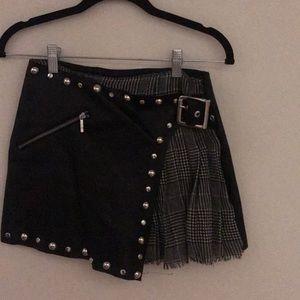 Leather studded & plaid skort